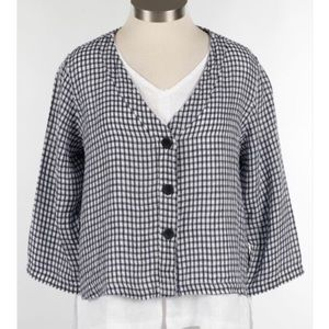 FLAX Boxy Cardigan in Navy Gingham-1G
